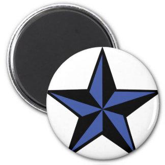 icono negro-azul de la estrella imán redondo 5 cm