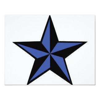 """icono negro-azul de la estrella invitación 4.25"""" x 5.5"""""""