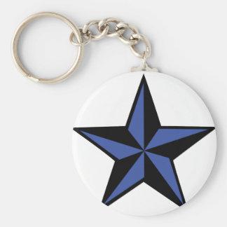 icono negro-azul de la estrella llavero redondo tipo pin