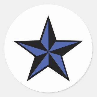 icono negro-azul de la estrella pegatina redonda