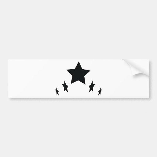 icono negro de cinco estrellas etiqueta de parachoque