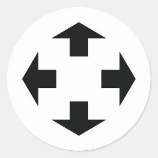 icono negro de cuatro flechas etiqueta redonda