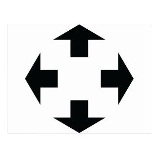 icono negro de cuatro flechas tarjetas postales