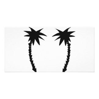 icono negro de dos palmas tarjetas con fotos personalizadas