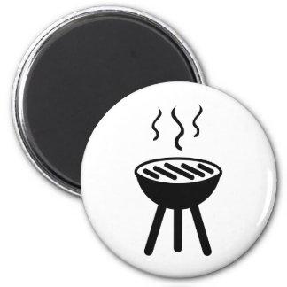 icono negro de la barbacoa imán redondo 5 cm