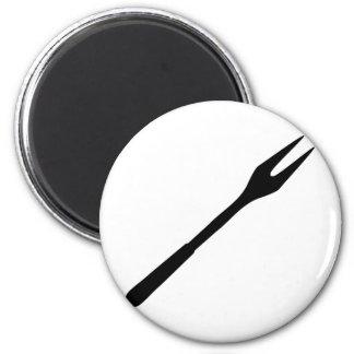 icono negro de la bifurcación del Bbq Imán De Nevera
