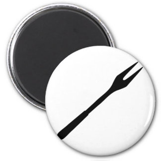 icono negro de la bifurcación del Bbq Imán Redondo 5 Cm