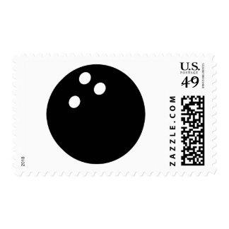 icono negro de la bola de bolos timbres postales
