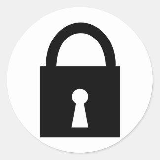 icono negro de la cerradura pegatina redonda