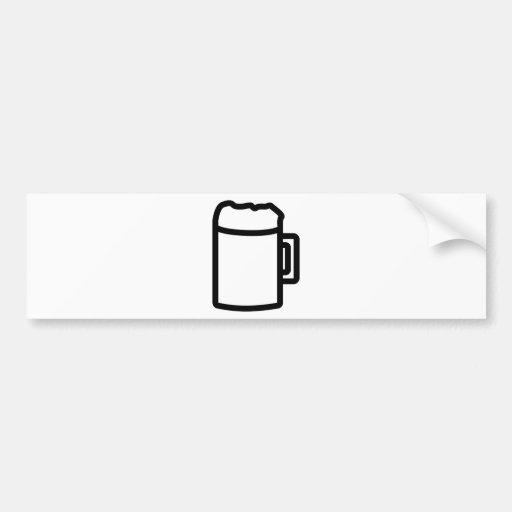 icono negro de la cerveza etiqueta de parachoque