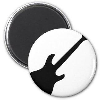 icono negro de la e-guitarra imán redondo 5 cm
