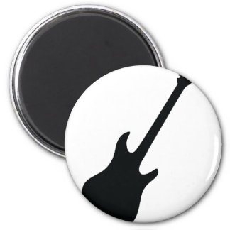 icono negro de la guitarra imán redondo 5 cm