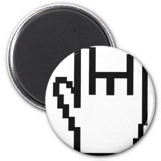 icono negro de la metal-cabeza imán redondo 5 cm