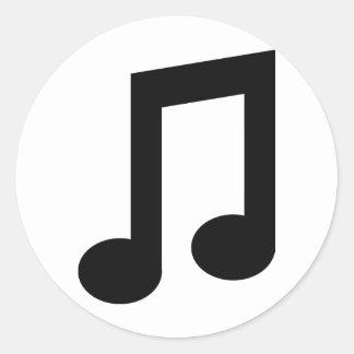 icono negro de la nota de la música pegatina redonda