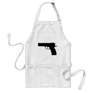 icono negro de la pistola delantales