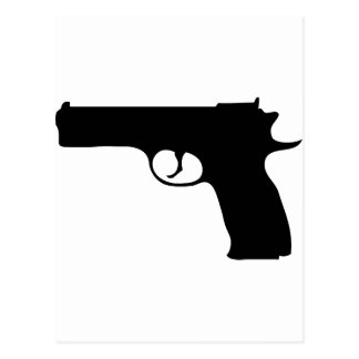icono negro de la pistola postales