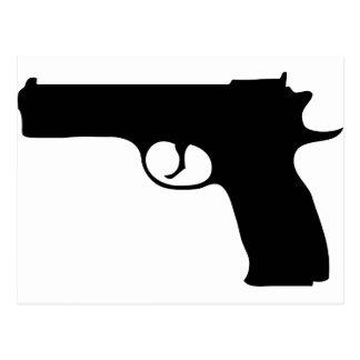 icono negro de la pistola tarjeta postal