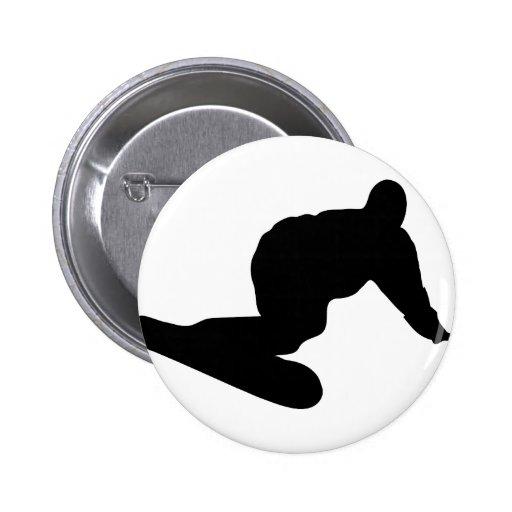 icono negro de la snowboard pin redondo 5 cm