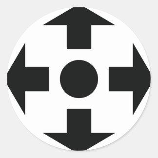 icono negro de las flechas pegatina redonda