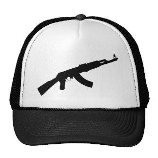 icono negro del ak 47 del arma gorros bordados