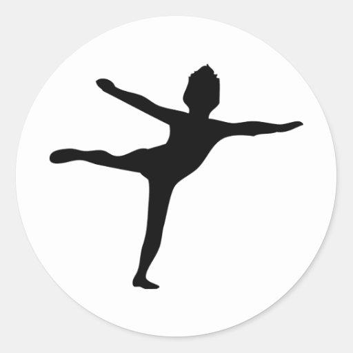 icono negro del bailarín pegatina redonda