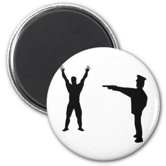 icono negro del bandido y del policía imán redondo 5 cm