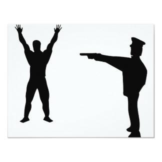 """icono negro del bandido y del policía invitación 4.25"""" x 5.5"""""""