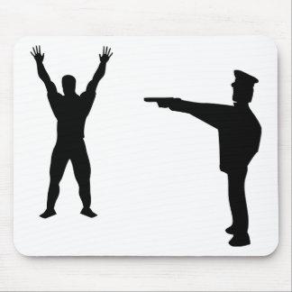 icono negro del bandido y del policía alfombrilla de raton
