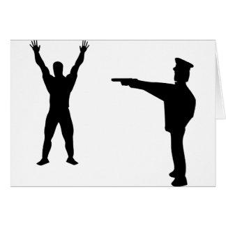icono negro del bandido y del policía tarjeta de felicitación