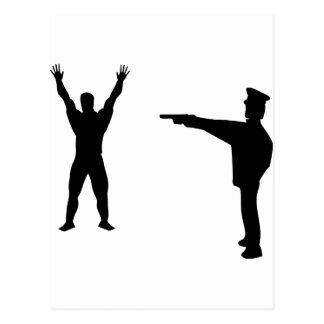 icono negro del bandido y del policía tarjeta postal