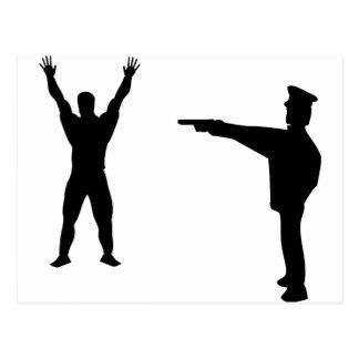 icono negro del bandido y del policía postales