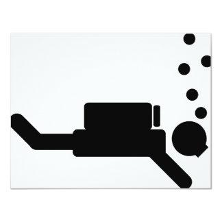 """icono negro del buceador invitación 4.25"""" x 5.5"""""""