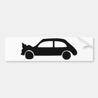 icono negro del coche del desplome etiqueta de parachoque