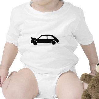 icono negro del coche del desplome traje de bebé
