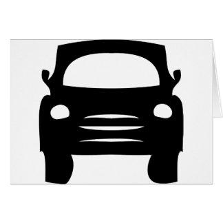 icono negro del coche tarjeta de felicitación