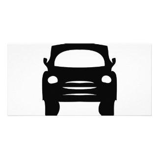 icono negro del coche tarjetas personales con fotos
