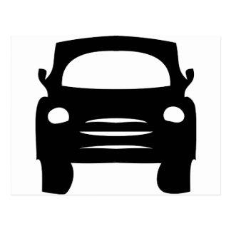 icono negro del coche tarjeta postal