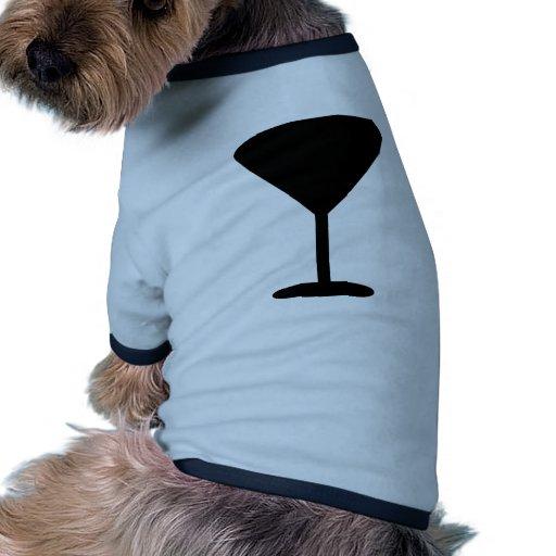 icono negro del cóctel camiseta con mangas para perro