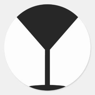 icono negro del cóctel etiqueta redonda