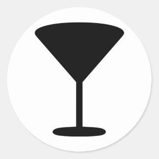 icono negro del cóctel pegatina redonda