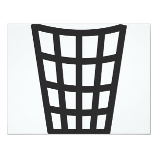 """icono negro del cubo de la basura invitación 4.25"""" x 5.5"""""""