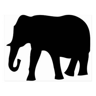 icono negro del elefante tarjeta postal
