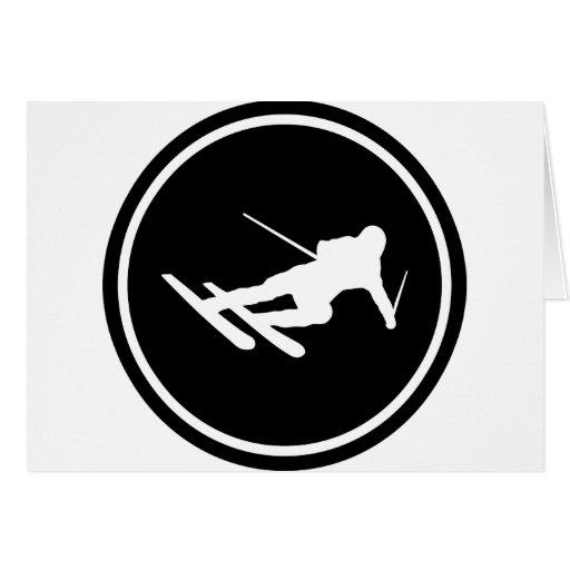 icono negro del esquí del esquí cuesta abajo tarjeta de felicitación