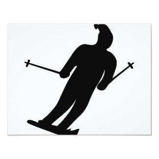 """icono negro del esquiador invitación 4.25"""" x 5.5"""""""