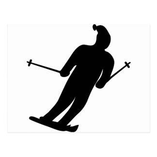 icono negro del esquiador tarjeta postal