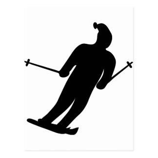 icono negro del esquiador tarjetas postales