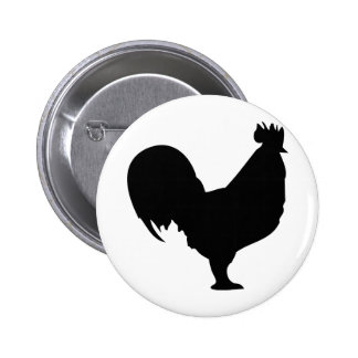 icono negro del gallo pin redondo de 2 pulgadas