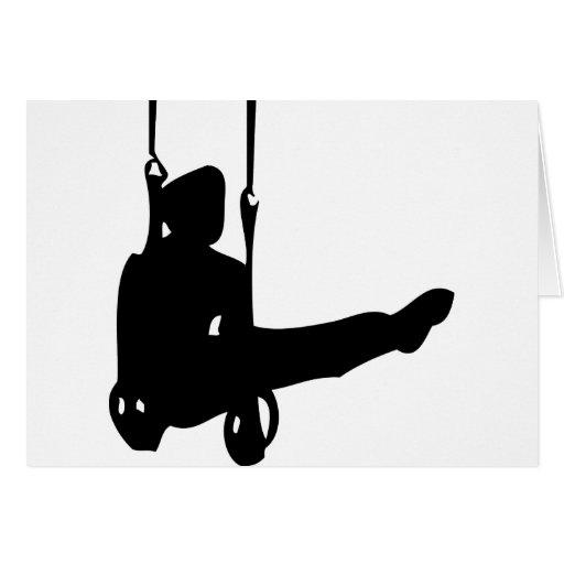 icono negro del gimnasta tarjeta de felicitación