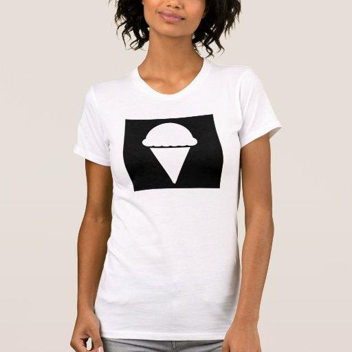 Icono negro del helado camisetas