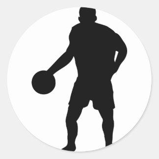 icono negro del jugador de básquet pegatina redonda